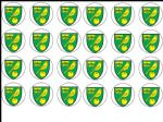 24 x Norwich City Football Edible Rice Wafer Paper Cupcake Top Toppers
